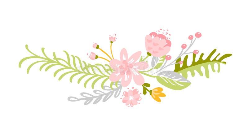 Flat abstract green flower herbs bouquet. Vector Meadow garden spring easter, woman day romantic holiday, wedding. Flat abstract green flower herbs icon. Vector vector illustration