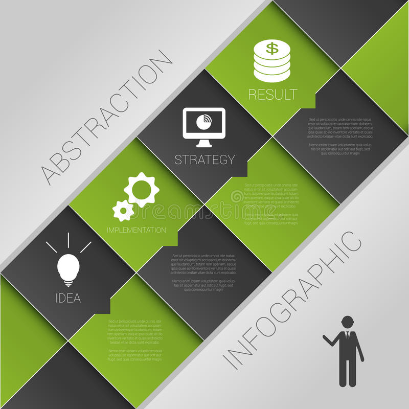 Flat abstract infographics dark green business vector with icons. Illustration vector illustration