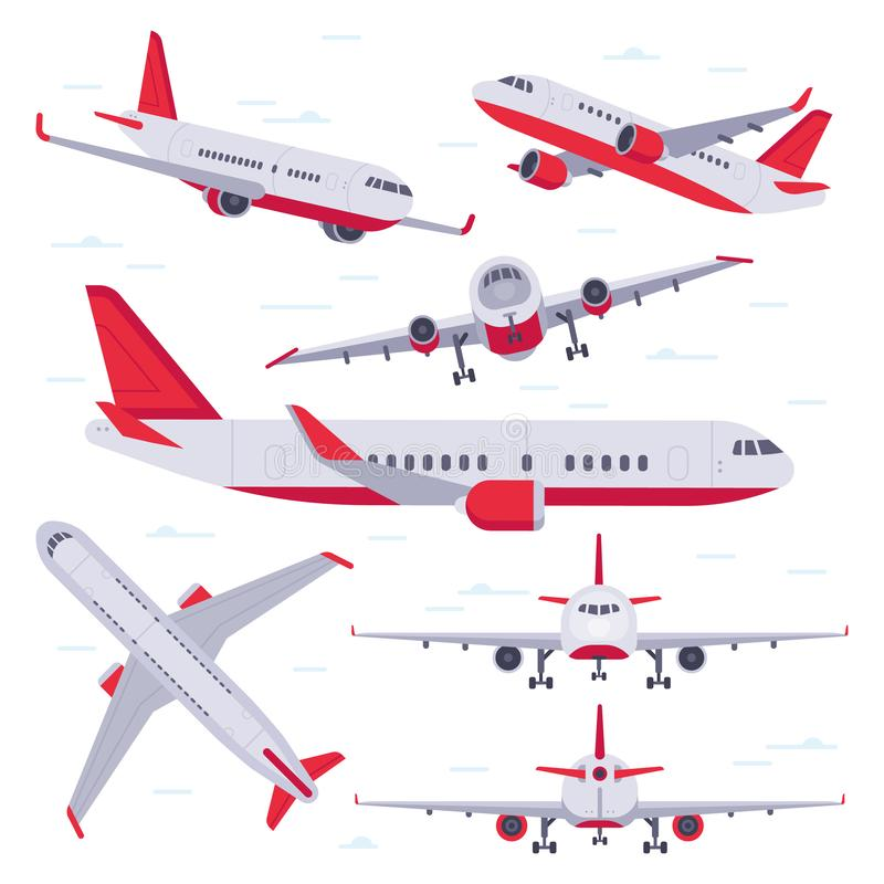Flat airplane. Aircraft flight travel, aviation wings and landing airplanes isolated vector illustration. Flat airplane. Aircraft flight travel, aviation wings stock illustration