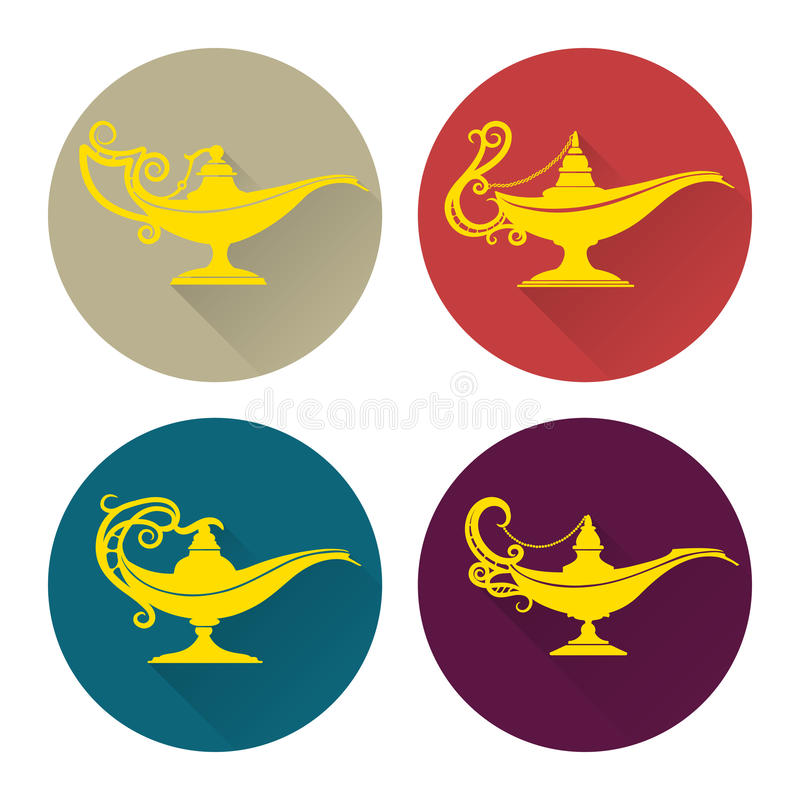 Flat aladdin lamp icons set royalty free illustration