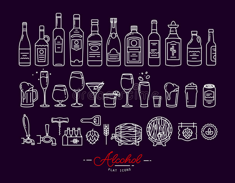 Flat alcohol icons violet. Set of alcohol icons in flat style drawing with white lines on violet background stock illustration
