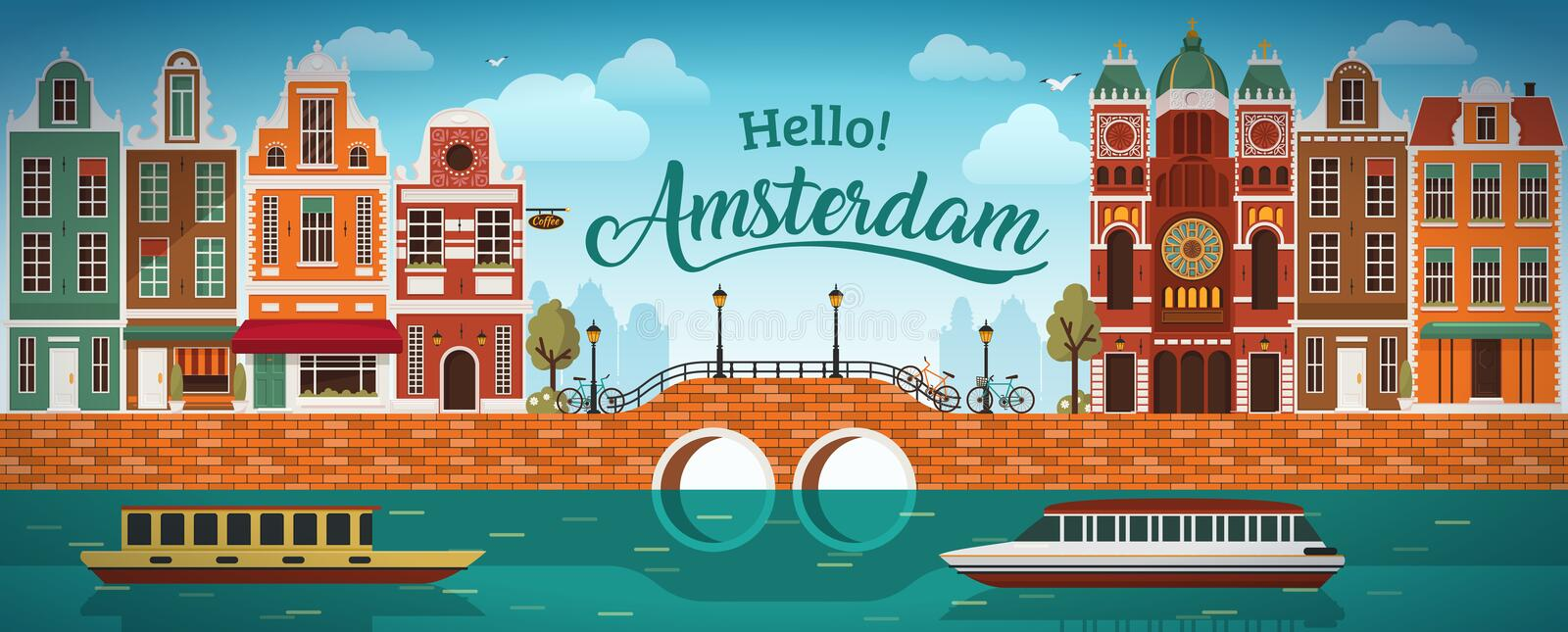 Flat Amsterdam panorama Holland, River sea canal channel bridge boat embankment bicycle multi color street. royalty free illustration