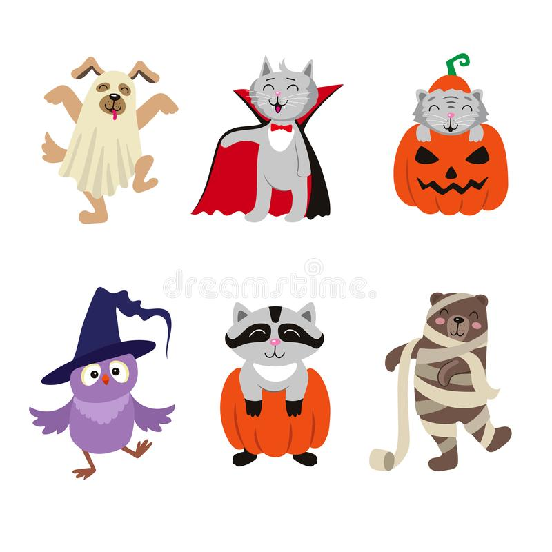 Flat animal characters in Halloween costumes. Set of funny animal characters dressed in Halloween costumes, flat cartoon vector illustration isolated on white stock illustration