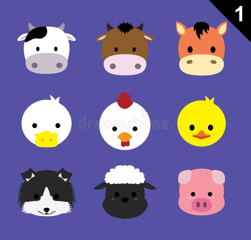Free Flat Animal Faces Icon Cartoon Vector Set 1 (Farm Animals) Royalty Free Stock Images - 59562259