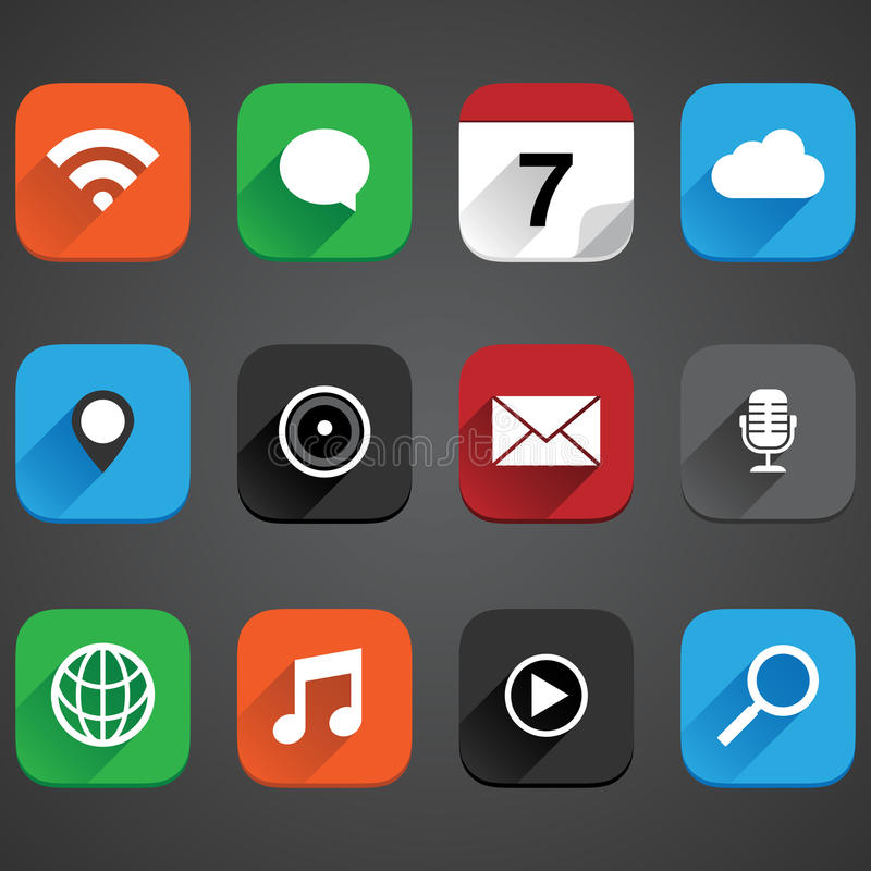 Flat App Icon Set royalty free illustration