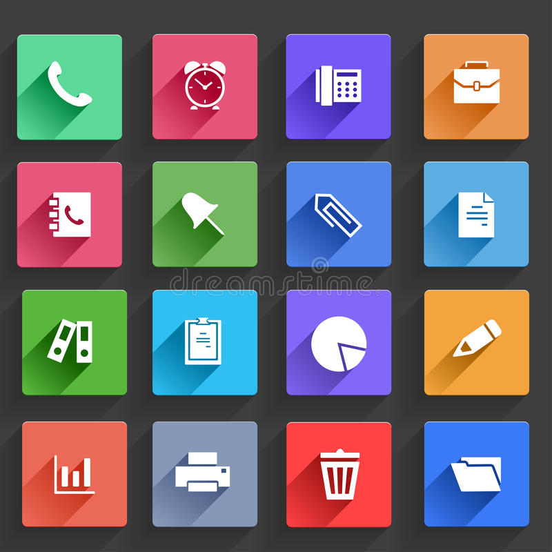 Flat Application Icons Set royalty free illustration