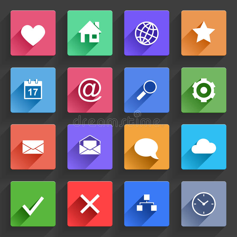Download Flat Application Icons Set stock vector. Image of home - 34239767