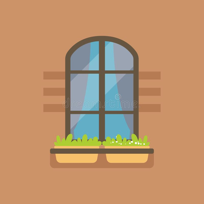 Flat arched window and potted flowers. Interior arched window with highlight and potted flowers on brown wall. Outdoor view, exterior. Architectural details royalty free illustration