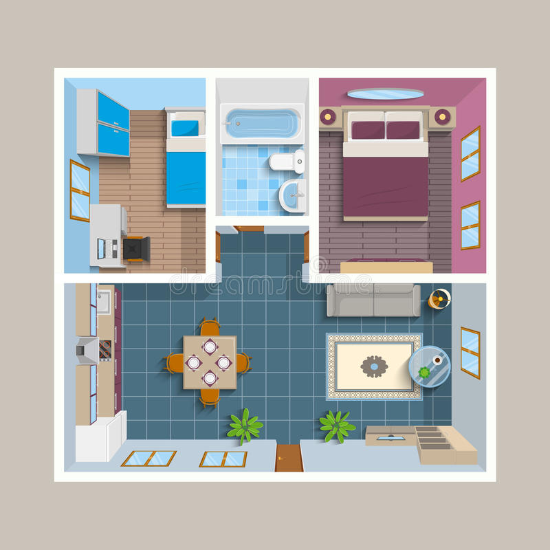 Flat Architectural Plan Top View Position. With divided rooms and furniture vector illustration royalty free illustration