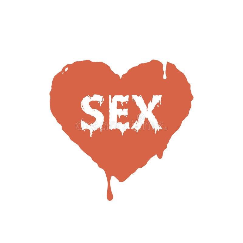 Flat art illustration of current paint heart with the word sex. Colored flat art illustration of current paint heart with the word sex stock illustration