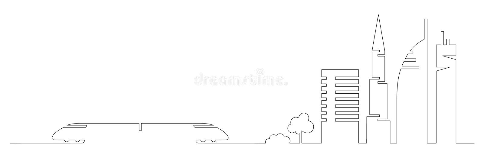 Flat artistic one line design vector city train and city buildings, skyscrapers, trees shape silhouettes drawn in minimalism slyle. By one single line. Slylish stock illustration