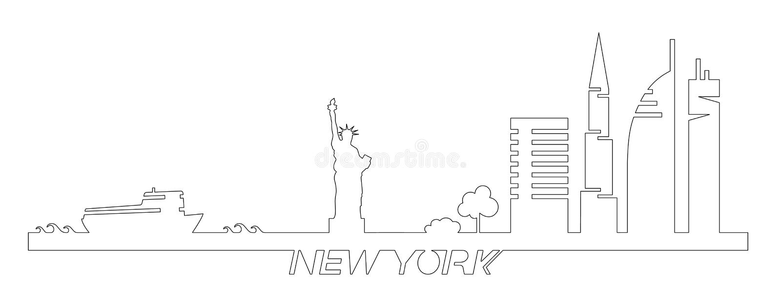 Flat artistic vector design of New York city buildings, skyscrapers, Statue of Liberty shape silhouettes drawn in minimalism slyle royalty free illustration