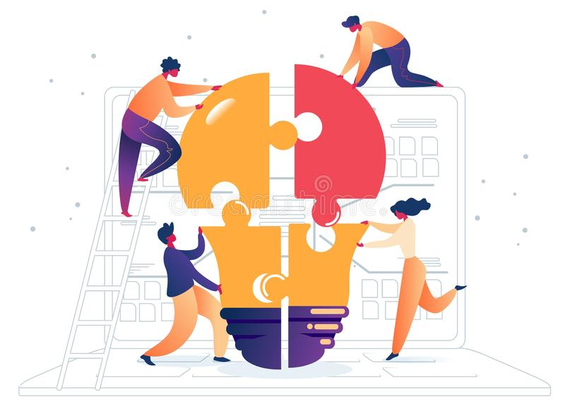 Flat Assemble Colored Light Bulb from Puzzles. Vector Illustration on White Background. Men Casual Clothes and Woman Animatedly Gathering Large Lamp Out Equal vector illustration
