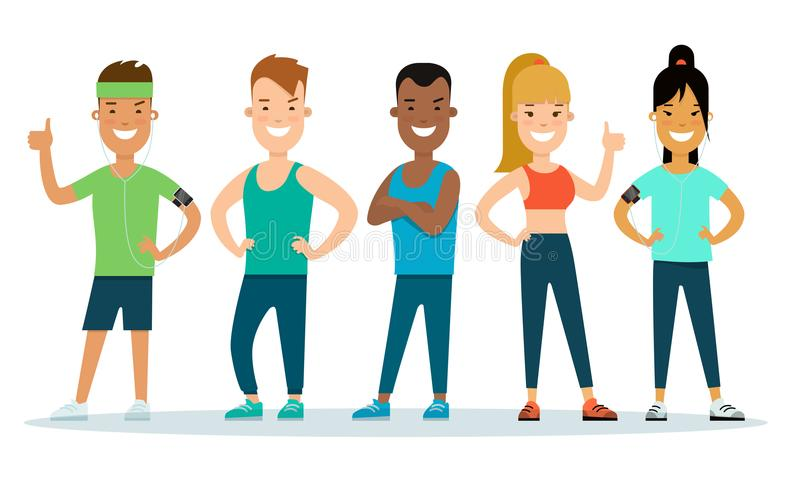 Flat Athlete workout gym characters . Fitnes vector illustration