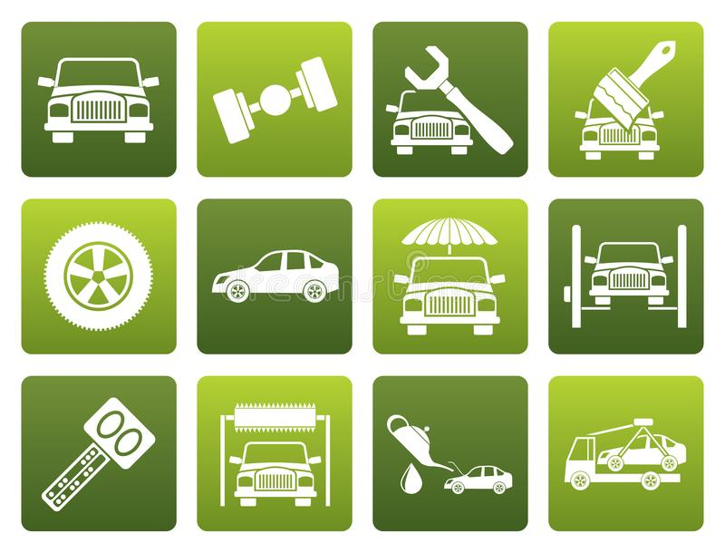Flat auto service and transportation icons royalty free illustration