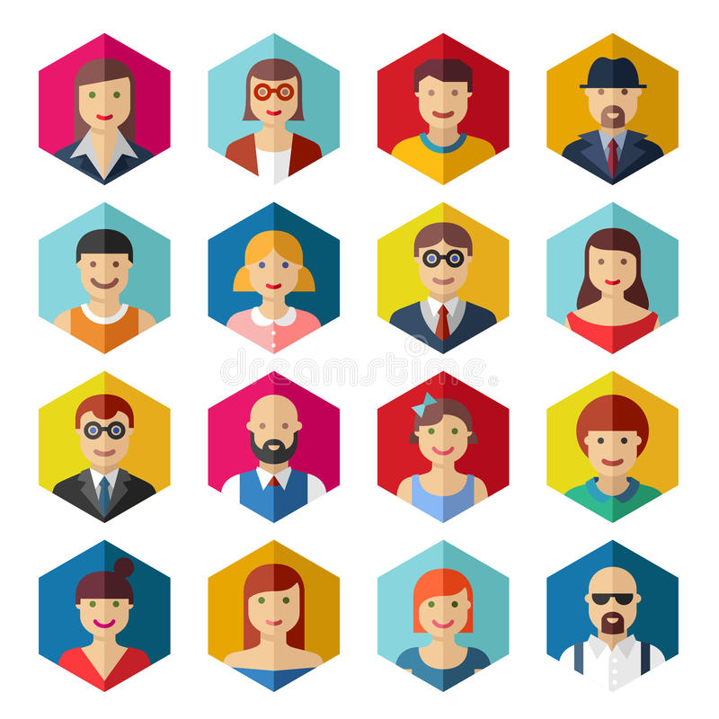 Flat avatar icons faces people symbols signs stock illustration