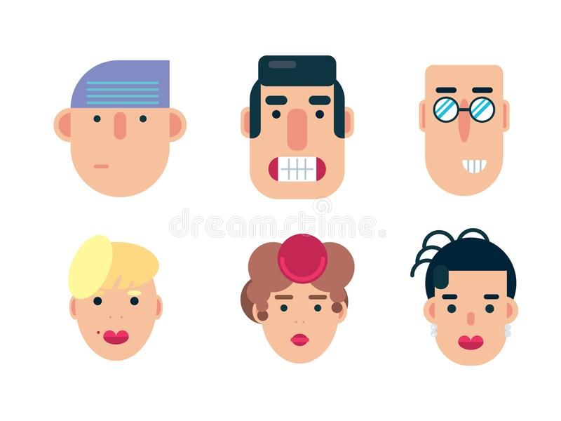 Flat avatar icons, faces, people icons stock illustration