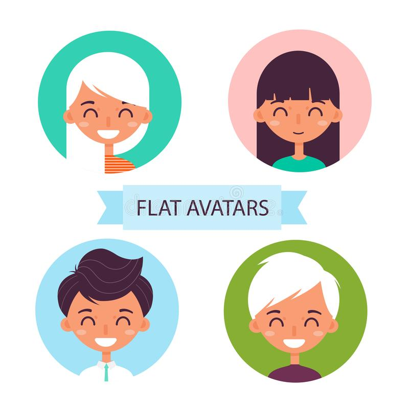 Flat avatars.Set of flat icons. Set of flat icons. Avatar with the image of girls and guys royalty free illustration