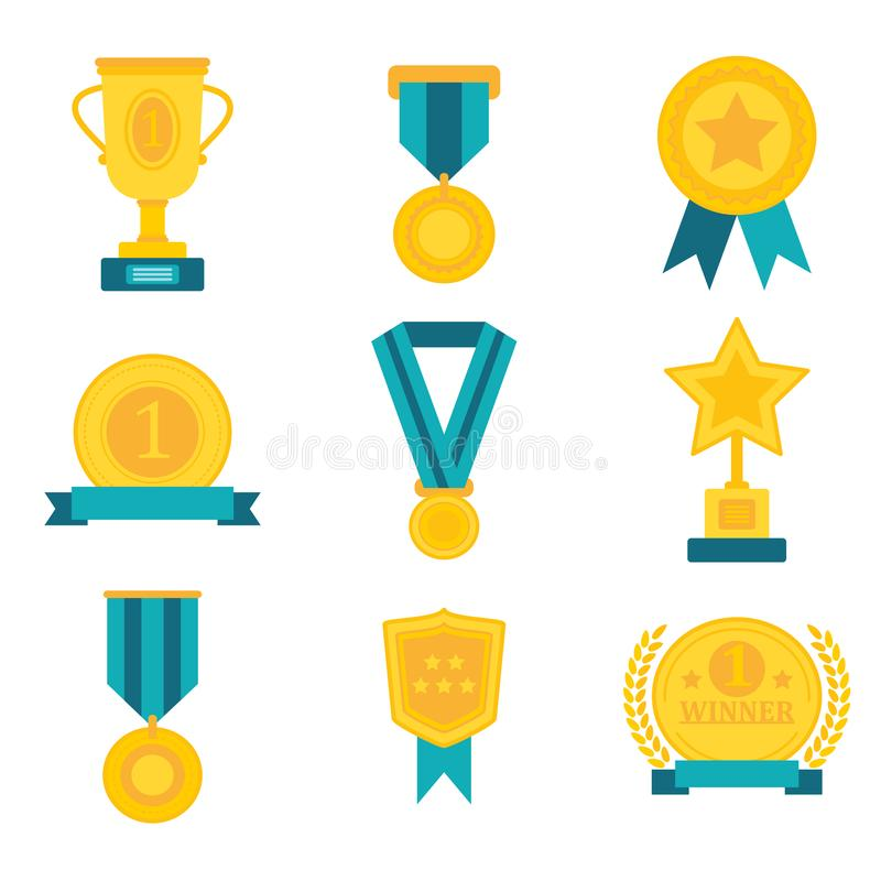 Flat awards medal trophy champion cup badge winner success icon collections vector illustration. Flat awards medal trophy champion cup badge winner success icon royalty free illustration