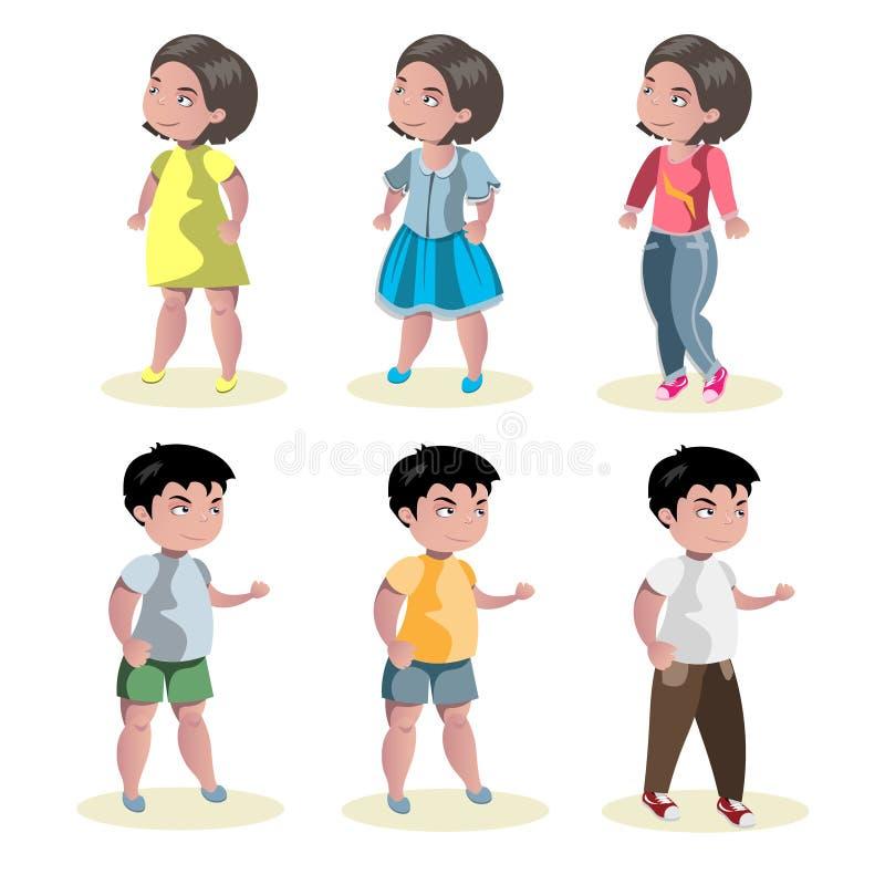 Flat baby boy and girl fashion icon set vector illustration