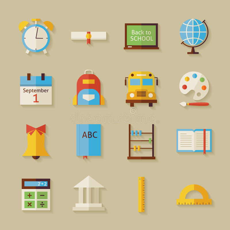 Flat Back to School Objects Set with Shadow royalty free illustration