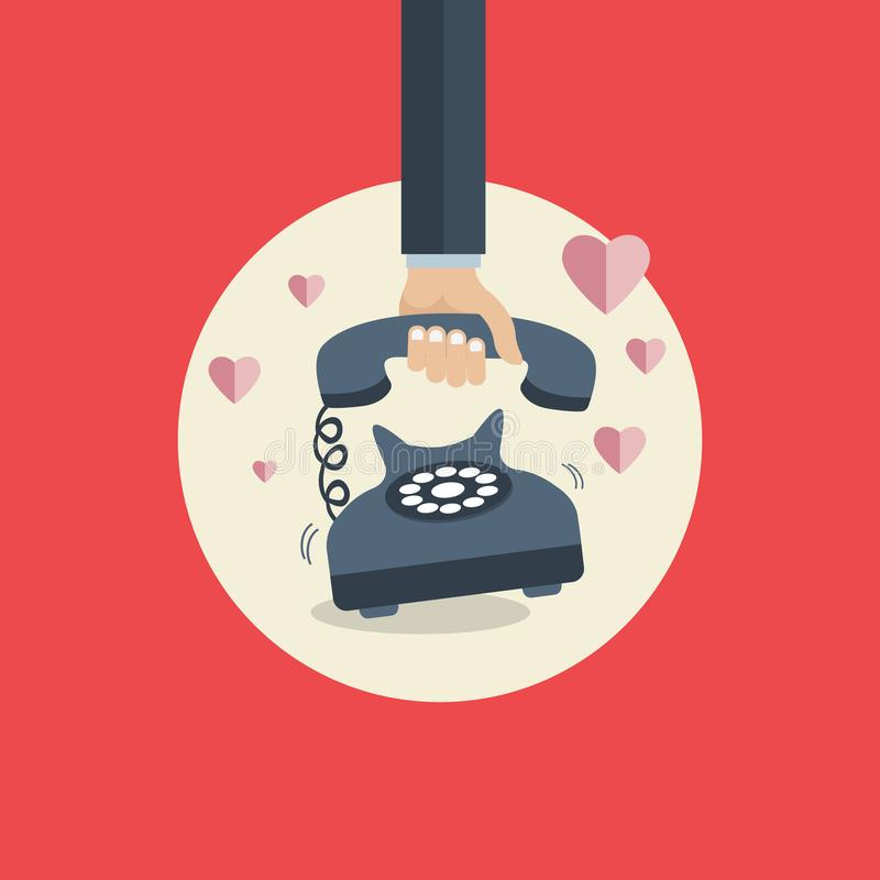 Flat background with retro telephone. Valentines day. Be my valentine. February. Love message stock illustration