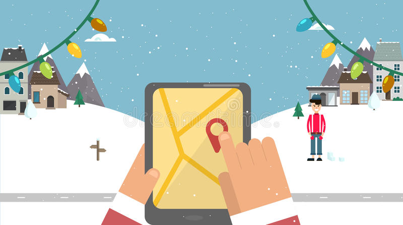 Flat background. Santa with navigator vector illustration