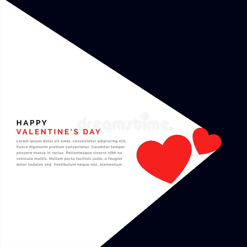 Flat background with two hearts and text space for valentines day. Vector vector illustration