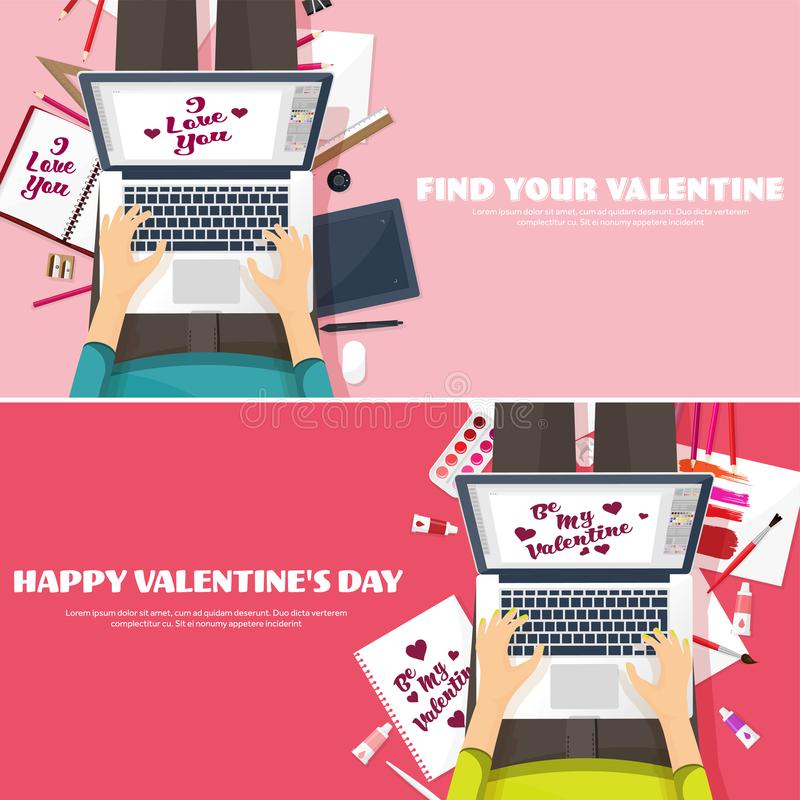 Flat background with typewriter. Love, hearts. Valentines day holidays. Be my valentine. 14 february.Vector illustration vector illustration