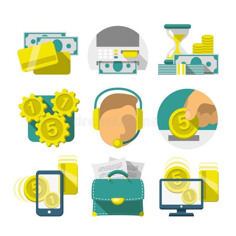 Flat Banking icons royalty free illustration