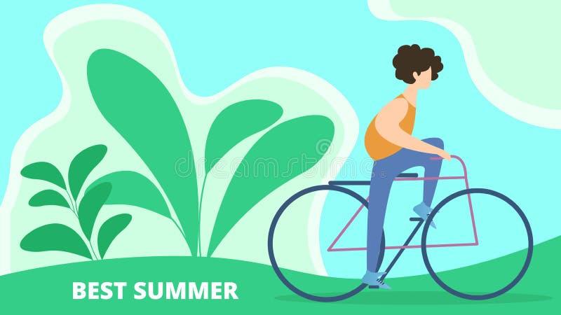 Flat Banner Best Summer Holidays Cartoon Vector. royalty free illustration