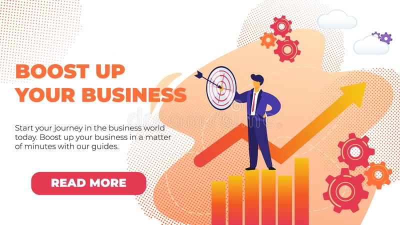 Flat Banner Boost Up Your Business with Promotion. royalty free illustration