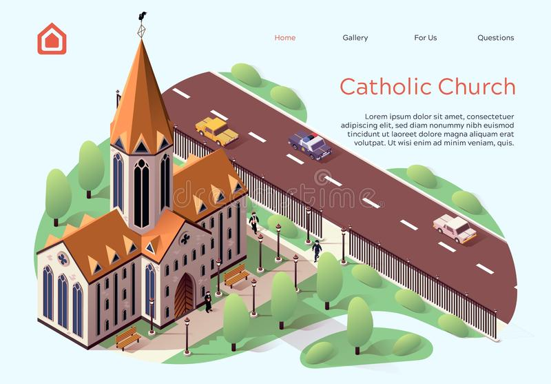 Flat Banner Catholic Church Lettering Cartoon. Religious Building for Ceremonies within City. High-rise Building Church for Catholics.  Territory Church is royalty free illustration