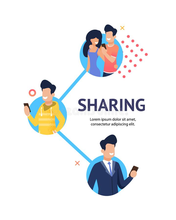 Flat Banner Group Happy People Sharing Relevant. Flat Banner Group Young Happy People Sharing Relevant Information. Vector Illustration on White Background. Guy royalty free illustration