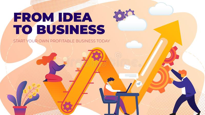 Flat Banner from Idea to Business Entrepreneurship royalty free illustration