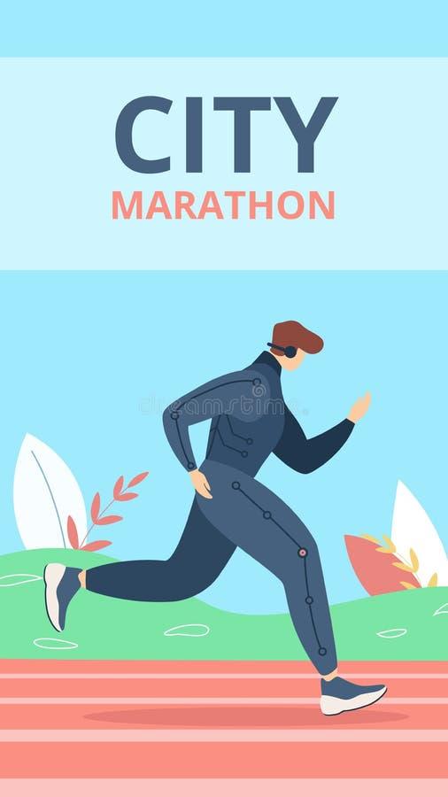 Flat Banner Inscription City Marathon Cartoon. stock illustration