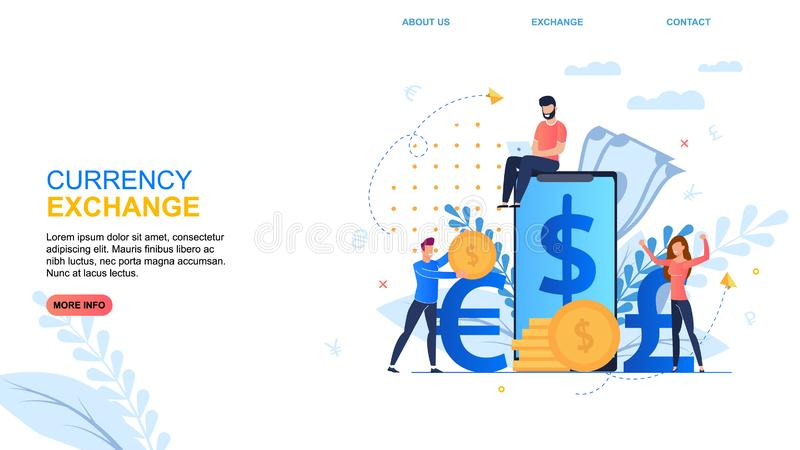 Flat Banner Inscription Currency Exchange Cartoon. royalty free illustration