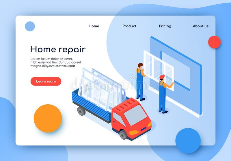 Flat Banner Inscription Home Repair Isometric. Replacement and Installation Plastic Windows. Men Professional Staff Insert New Windows In Apartment. Truck in royalty free illustration