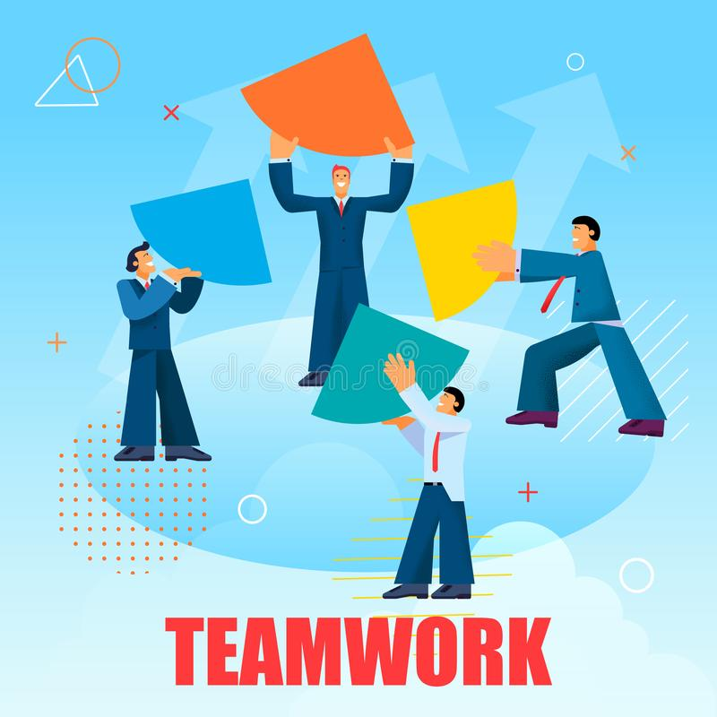 Flat Banner Lettering Written Teamwork Vector. Illustration on Blue Background. Young Men in Business Suits are Holding Quarter Circle and are Trying to Put stock illustration