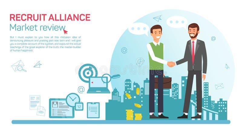 Flat Banner Recruit Alliance Job Market Review. royalty free illustration