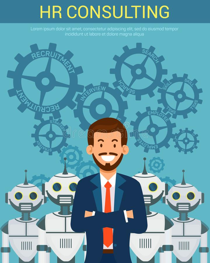 Flat Banner Recruitment Agency PR Consulting. Vector Illustration on Blue Background in Center Young Happy Man in Suit Folded Arms over Chest Behind Robots royalty free illustration