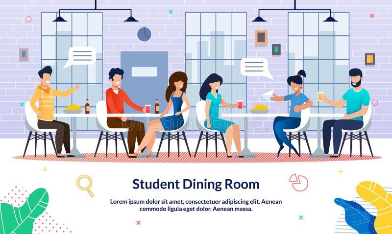 Flat Banner Student Geschreven Dining Room, Slide vector illustratie
