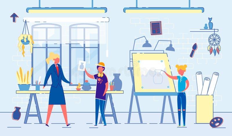 Flat Banner Teaching Children Art in School Class. Female Teacher at School Teaches Children Painting. Boy Shows Teacher Drawn Jug. Girl Draws on Easel royalty free illustration