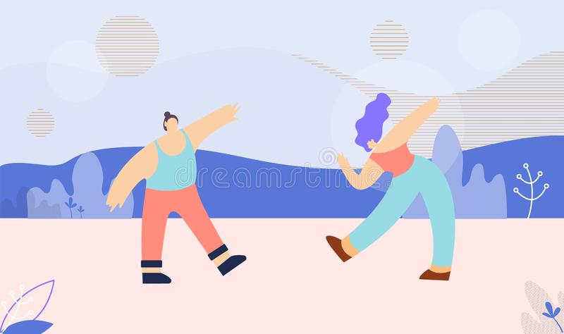 Dancing Multi Ethnic Couple Flat Banner Template stock illustration