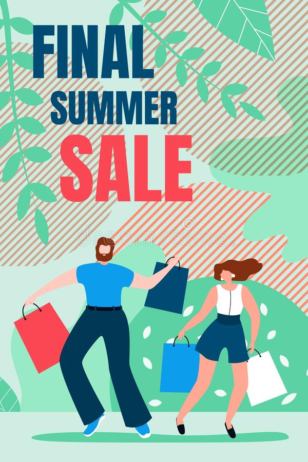 Flat Banner is Written Final Summer Sale Cartoon. Vertical Flyer Invitation for Sale Goods. Man and Woman are Jumping from Shopping Bag. Joy Buying Goods at stock illustration