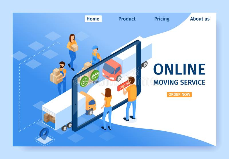Flat Banner is Written Online Moving Service. Men and Women Choose Services on Tablet Screen and Find Out Cost Transporting Things and Furniture. People in stock illustration