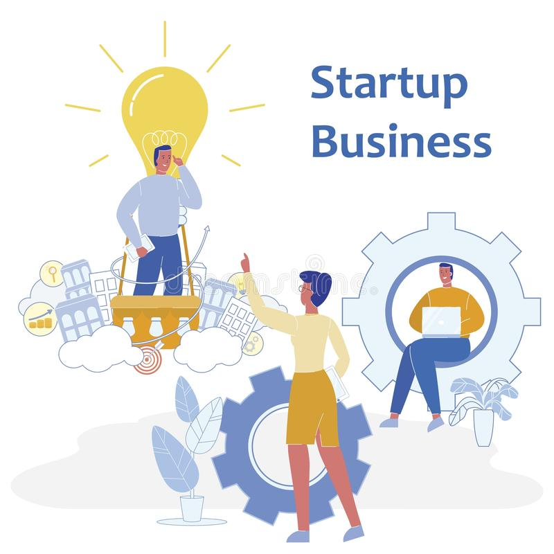 Flat Banner is Written Startup Business Vector. Estimated Startup Cost. Men and Women are Developing Project Based on Business Idea with Involvement an royalty free illustration