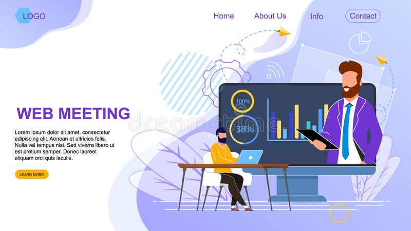 Flat Banner is Written Web Meeting Landing Page. Business Negotiations Through an Online Conference. Internet Broadcast on Computer Screen. Success Men Work in vector illustration