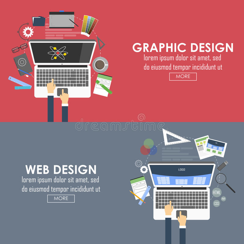 Flat banners for graphic design and web design. Vector vector illustration
