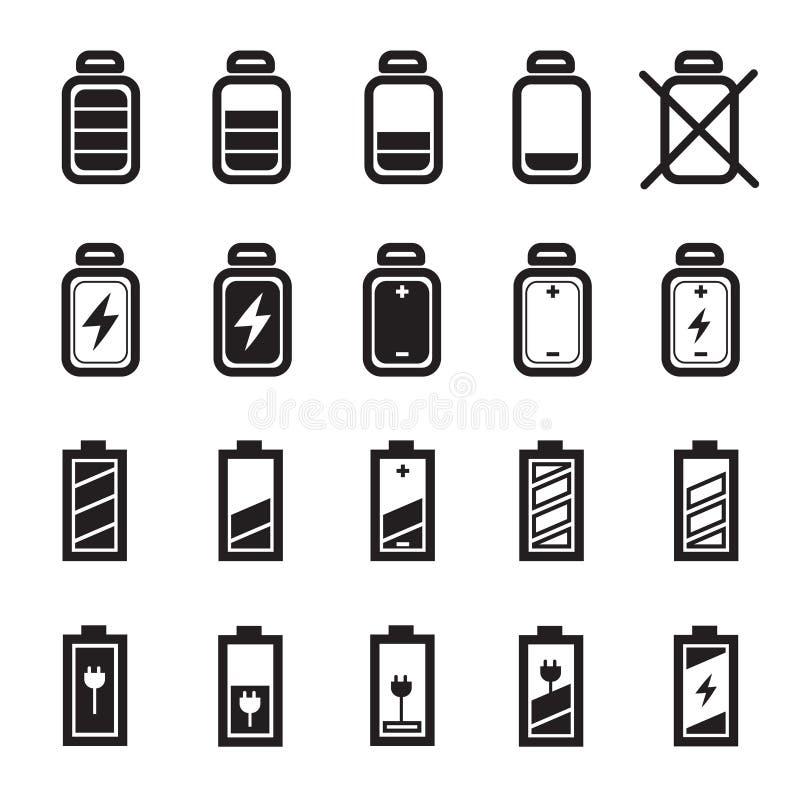 Flat Battery Icons Set Stock Vector Illustration Of Energy 96449600